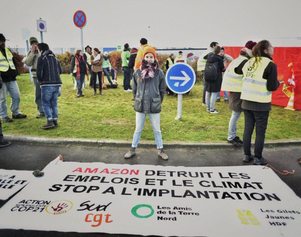 Amazon-protest fra Gule Veste, fagforening og miljøgrupper